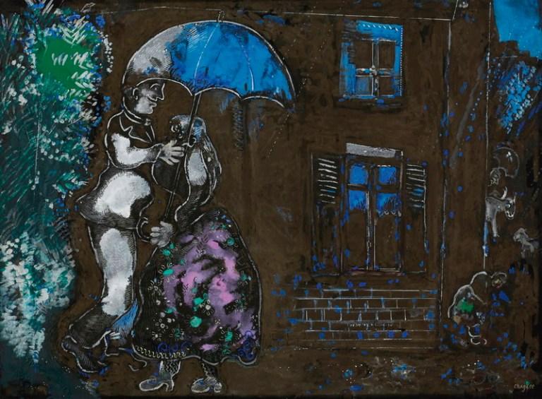 Couple Sous la Pluie by Marc Chagall