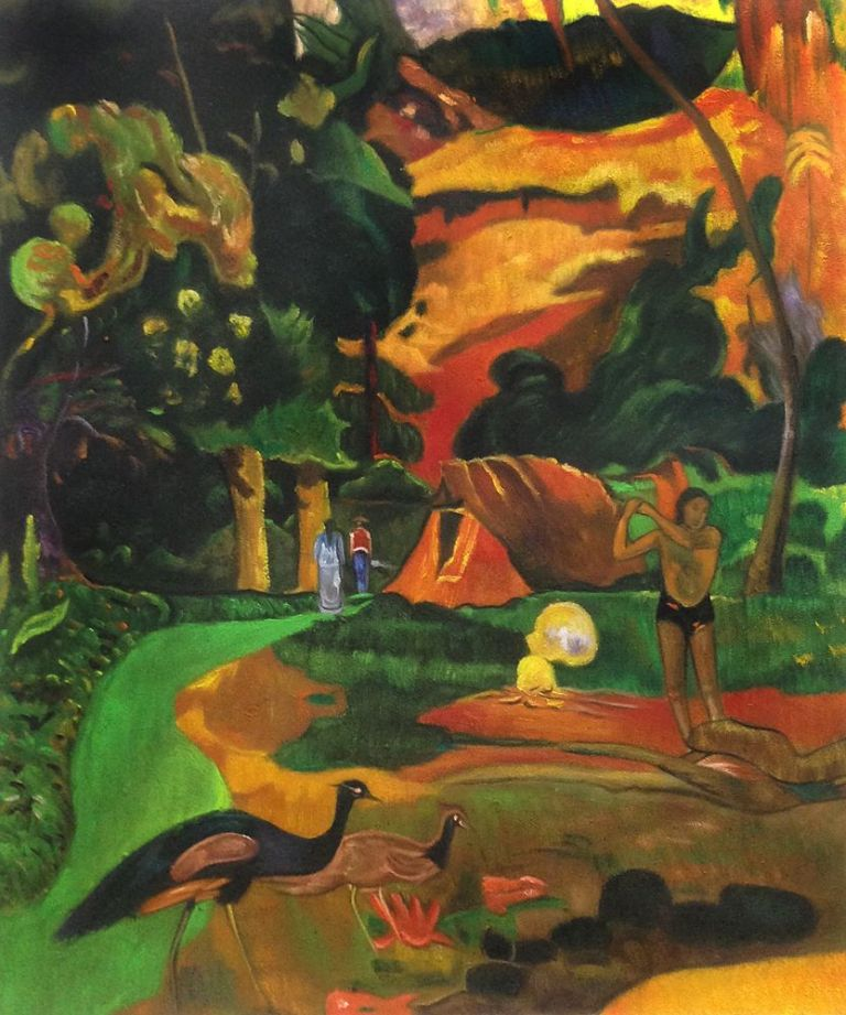Paul Gauguin, Matamoe landscape with peacocks - 1892