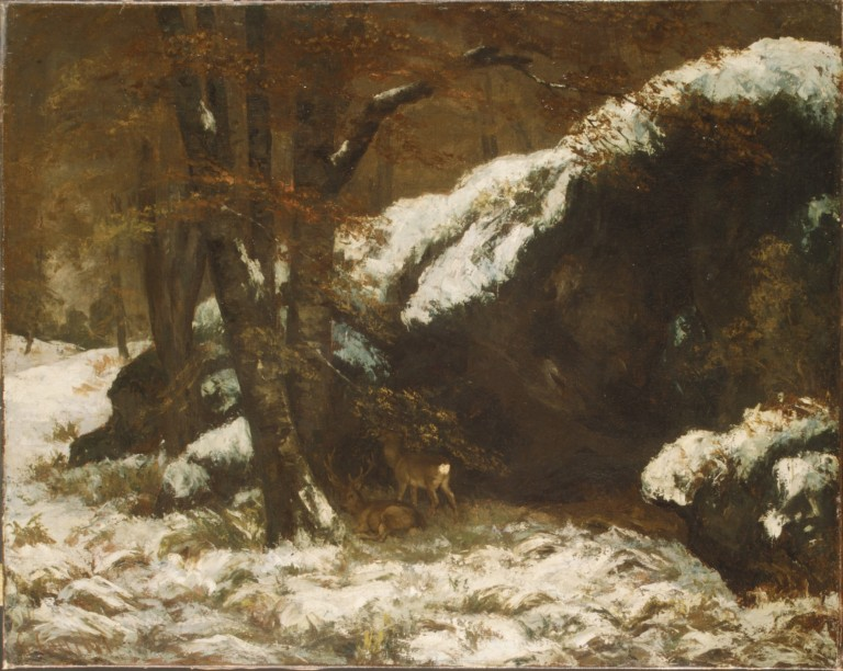 Deer in the snow by Gustave Courbet (Via The Met)